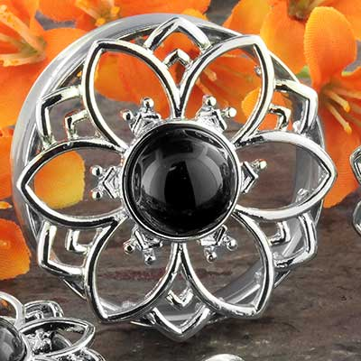 Black Onyx Flower Plugs