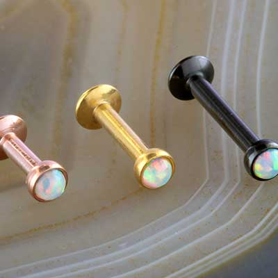 Synthetic White Opal Labret