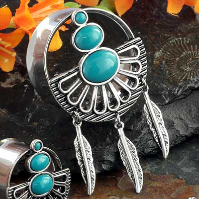 Synthetic turquoise fanned plugs with feathers