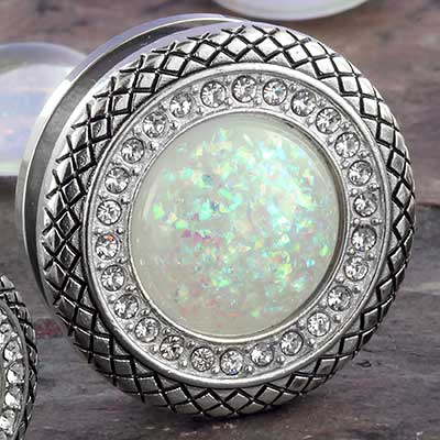 Synthetic white opal snakeskin eyelets