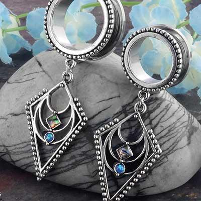 Diamond Dangle Eyelets with Abalone Shell