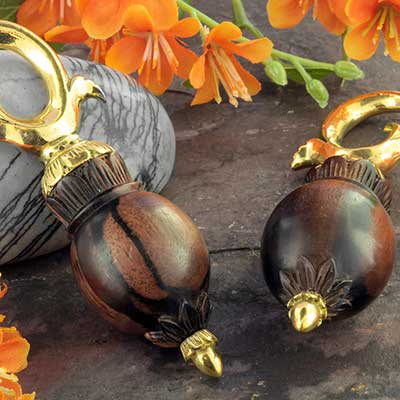 Brass and tamarind wood bloom weights