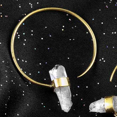 Brass and quartz crystal hoops