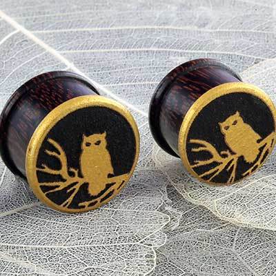Dark Tamarind Wood Golden Owl Plug