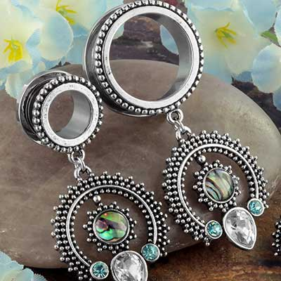 Beaded Sun Dangle Eyelets with Abalone Shell