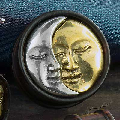 Arang Wood Plug with Moon and Sun Inlay
