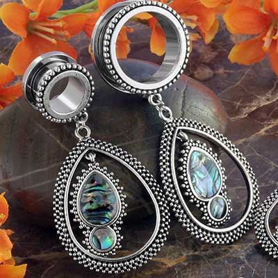 Teardrop Dangle Eyelets with Abalone Shell