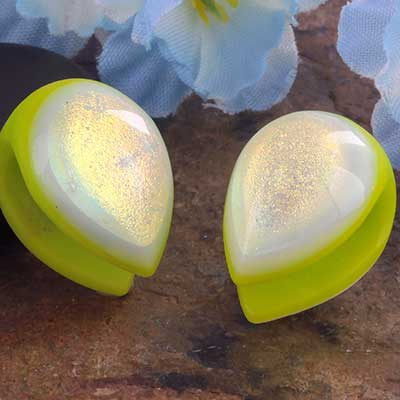 Glass dichroic shield weights (Green with emerald/ gold)
