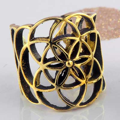Brass Flower of Life Ear Cuff