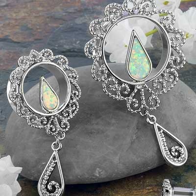 Synthetic Opal and Teardrop Dangle Eyelets