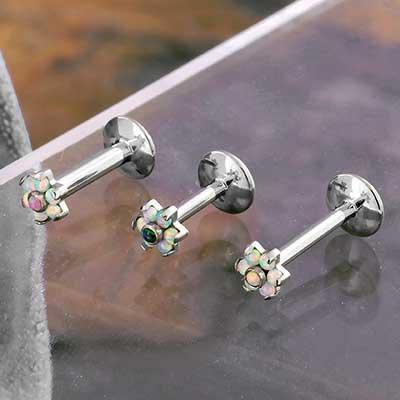 Titanium Opal Flower Labret
