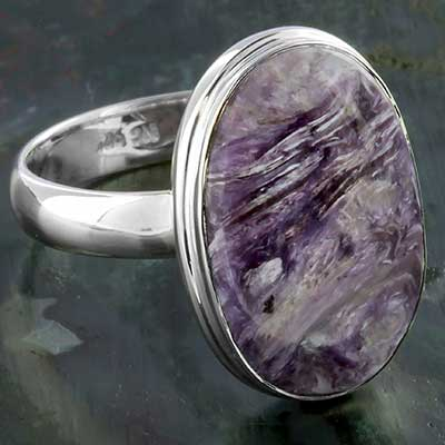 Silver and Charoite Ring