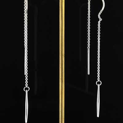 Silver Needle and Thread Earrings