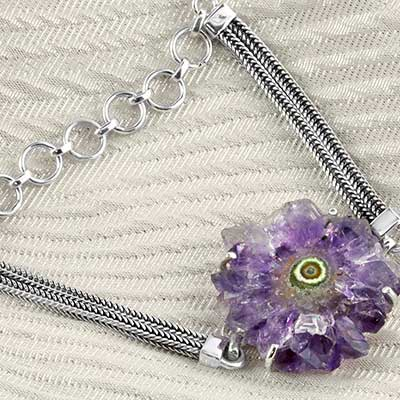 Amethyst Stalactite and Silver Bracelet