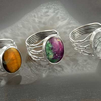 Silver and Stone Wave Ring