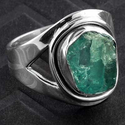 Silver and Rough Apatite Ring