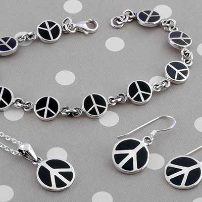 Silver Peace Jewelry Design with Black Onyx