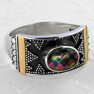 Silver and Beaded Mystic Topaz Ring