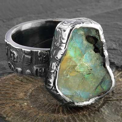 Textured Silver and Rough Labradorite Ring
