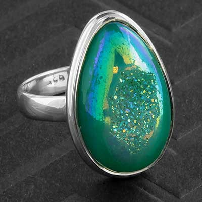 Silver and Blue Titanium Druzy Ring