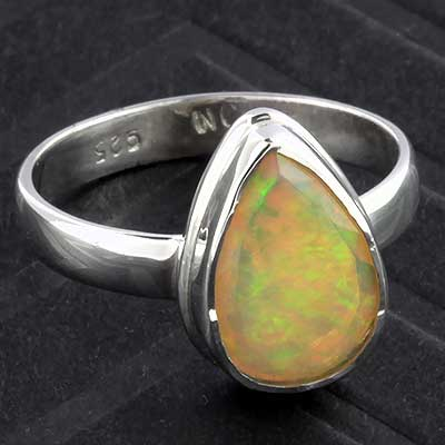 Silver and Ethiopian Opal Ring