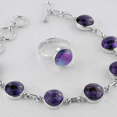 Silver and Circle Amethyst Jewelry