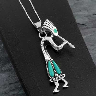 Silver Kokapelli Necklace with Synthetic Turquoise