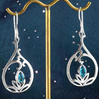 Silver and Blue Topaz Lotus Earrings