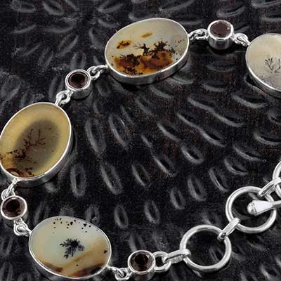 Silver and Scenic Agate Bracelet