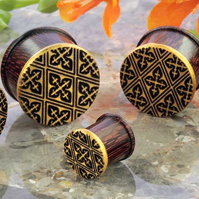 Dark Tamarind Wood Golden Pattern Plug