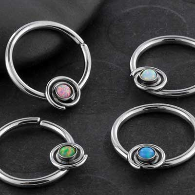 Synthetic Opal Spiral Seamless Ring