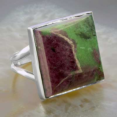 Silver and Ruby in Zoisite Ring