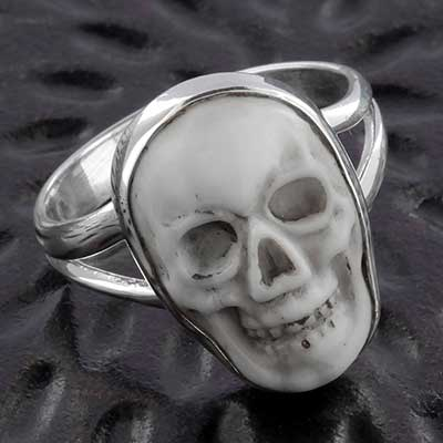 Silver and Howlite Skull Ring