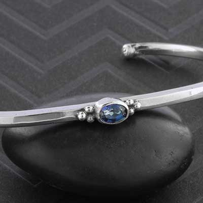 Silver and Oval Iolite Bracelet