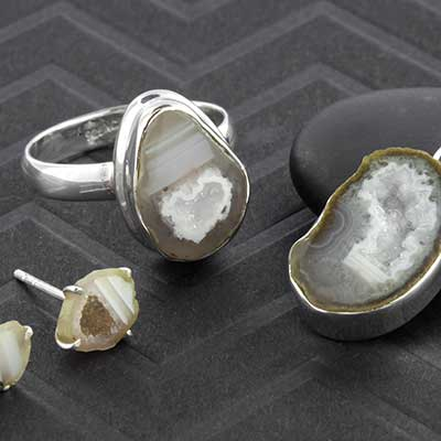 Silver and Agate Geode Jewelry