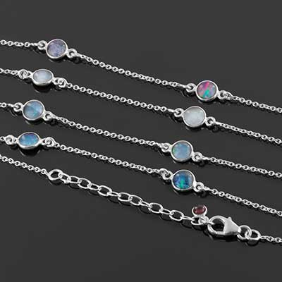 Silver and Genuine Opal Bracelet