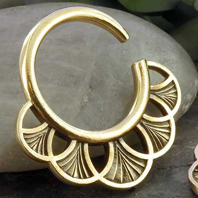 Brass Petal Hoops