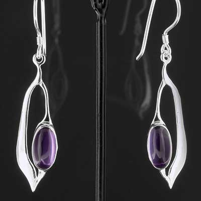 Silver and Amethyst Droplet Earrings