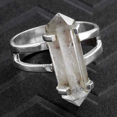 Silver and Quartz Crystal Ring