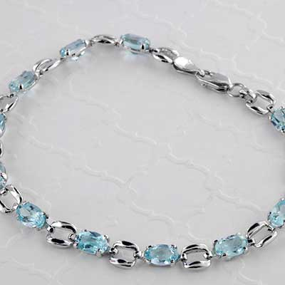 Blue Topaz and Silver Bracelet
