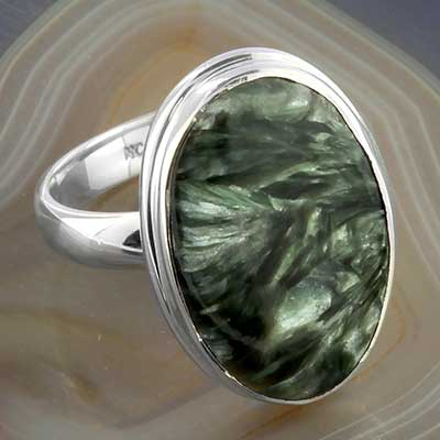 Silver and Seraphinite Ring