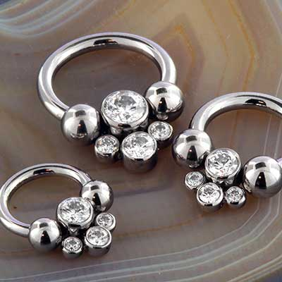 Titanium Circular Barbell with Cluster Bead