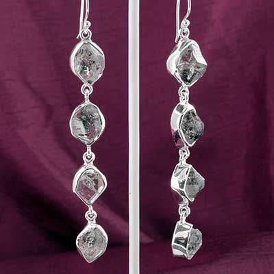 Silver and Herkimar Diamond Earrings