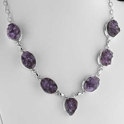 Amethyst druzy and silver necklace