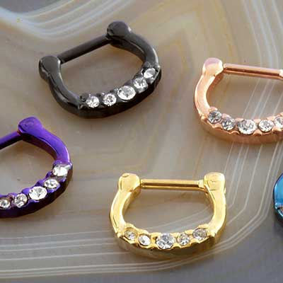 Jeweled Titanium Plated  Septum Clicker