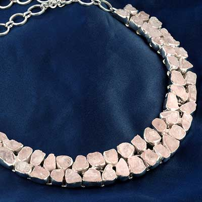 Silver and Rough Pink Aragnite Necklace