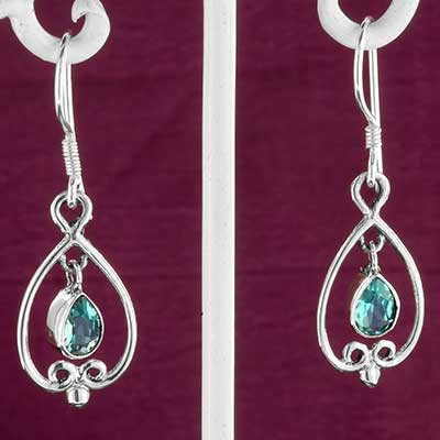 Silver and Embellished Blue Topaz Earrings