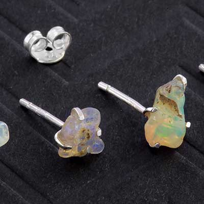 Silver and Rough Ethiopian Opal Earrings