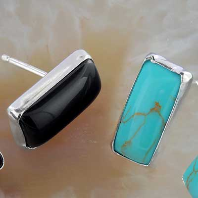 Rectangle Stone and Silver Earrings