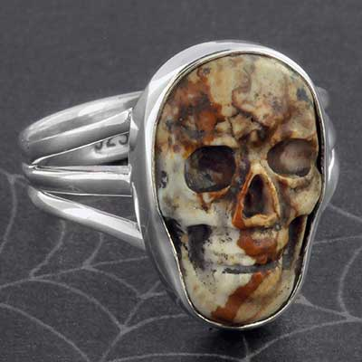 Silver and Picture Jasper Skull Ring